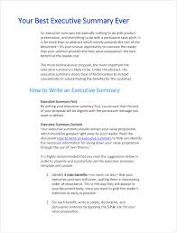 Executive Summary Sample For Proposal Writing Executive Summary Template Executive Summary