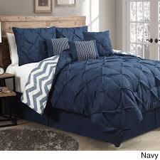 blue king size comforter sets. Avondale Manor Ella Pinch Pleat Reversible 7-piece Comforter Set (Navy Blue - King) (Polyester, Ruched) King Size Sets N