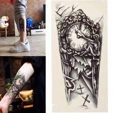 Us 034 16 Offblack Clock Tatoos For Men Temporary Large Mechanical Arm Leg Tattoo Sticker Women 3d Sexy Fake Transfer Tattoo Chest In Temporary