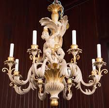 italian carved solid wood monkey chandelier light finish with gilding eight lights new
