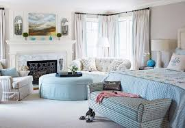 Powder Blue-and-Cream Bedroom and Sitting Area