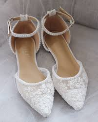 Designer White Flats White Crochet Lace Pointy Toe Flats With Mini Pearls Women
