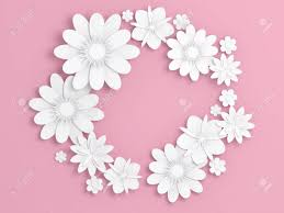 White Paper Flower Backdrop White Paper Flowers Decoration Over Light Pink Backdrop Bridal