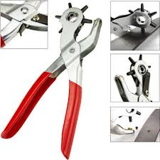 6 sized 9 heavy duty leather hole punch hand plier belt holes revolving punches
