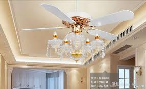 2018 luxury crystal fan light ceiling fans candle ceiling fan lights modern minimalist living room dining room bedroom fans 52inch from luohuisi