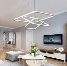 square double glow led chandeliers modern led pendant lights aluminum white hanging chandelier for dining kitchen room high brightness plug in hanging lamps
