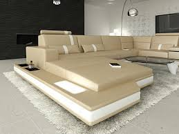Details About Ledersofa Ecksofa Ottomane Luxus Couch Sofa Messana In U Form Xxl Eckcouch Beige