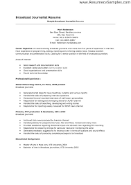 Broadcast Journalism Resume Templates Professional Resume Templates