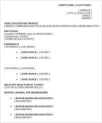 High School Resume Template Custom Resume Template High School Student First Job