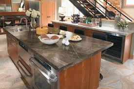 Wood laminate kitchen countertops Build Your Own Explore Laminate Kitchen Countertop Designs Stock Cabinet Express Discussing Pros Cons Of Laminate Countertops