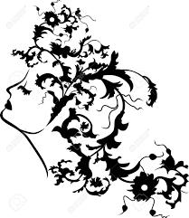 ファンタジー女性顔を花髪型のステンシルのイラスト素材ベクタ Image