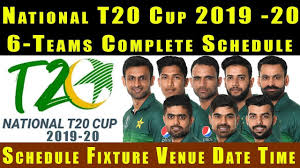 Pakistan National T20 Cup 2019 Schedule Teams Points Table