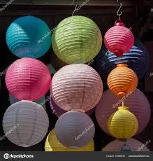 Kleurrijke Lampion Die Buiten Zijn In Een Markt Stockfoto