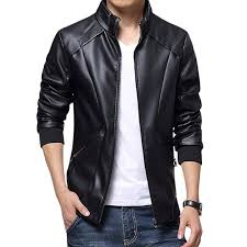 black pu leather jacket for men