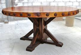 rustic dining tables for trestle tables for com regarding round rustic dining table prepare