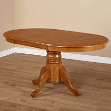 Farmhouse Rubberwood Round Oak Pedestal Expandable Dining Table, Leaf  Extension, Kitchen Table, BONUS