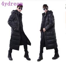 winter mens duck down jacket long puffer warm coats hooded full length parkas
