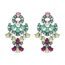 ariel gem statement earrings multi colour