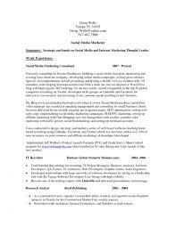 Sample Social Media Resume Colbroco Cool Social Media Marketing Resume