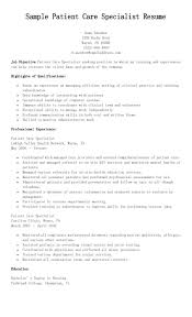 Sample Patient Care Specialist Resume Resame Pinterest