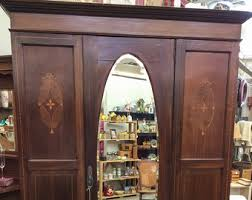 antique armoire with inlay mahogany wardrobe with mirror antique furniture bedroom vintage closet home decor french storage antique mahogany armoire