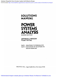 Power System Analysis Design Solution Manual Solutions Manual For Power Systems Analysis 2nd Edition By