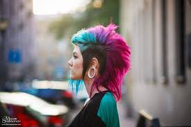 Blue And Pink Mohawk Hair Love This Minus The Huge Gauges Punk
