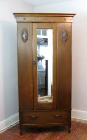 antique english dark oak art nouveau armoire wardrobe closet w mirror antique armoires antique wardrobes english