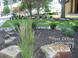 in the fall of 2010 work began on new landscaping installed in front yard marshall post office a major element design is use large office l57 office