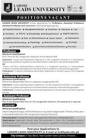 jobs in lahore leads university pk jobs in lahore leads university