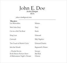 Free Acting Resume Template Download Acting Resume Template Sample