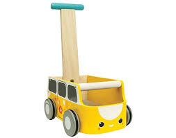 wooden baby walker van yellow