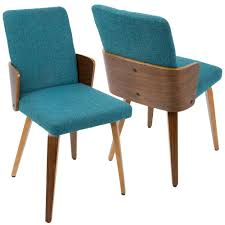 lumisource carmella mid century modern walnut and teal dining chair set of 2