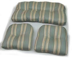 3 piece green stripped cushions for indoor outdoor wicker furniture