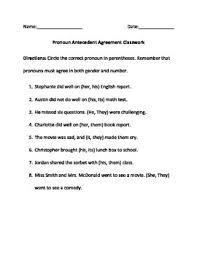 Pronoun Antecedent Agreement Pronoun Antecedent Agreement Homework Classwork And Quiz By Tarah