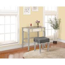 linon home decor harper 2 piece silver vanity set 580432sil01u