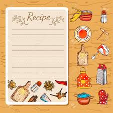 recipe book page with empty writing field and isolated decorative cartoon dishware icons on wooden background