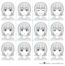 Anime Facial Expressions Chart With 12 Expressions In 2019