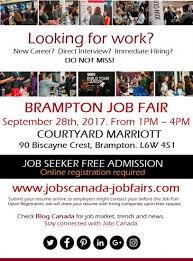 Free Brampton Job Fair Thursday September 28th 2017 General