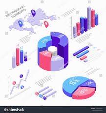 Isometric Infographic Elements With Charts Diagram Pie