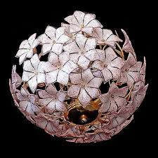 stunning xl large vintage italian murano pink flower venini art glass chandelier