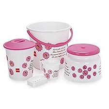 Cello Classic <b>5</b> Piece Polypropylene <b>Bathroom Set</b>, Pink: Amazon.in ...