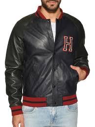 tommy hilfigerleather jacket navy green