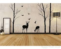 birch tree and deer
