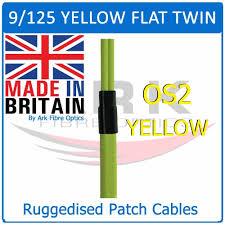 custom os2 flat twin ruggerdised fibre optic patch leads yellow