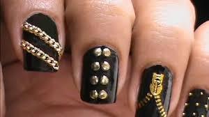 Garage Chic - Biker Studded Nails Art Designs Zip Nail Water ...