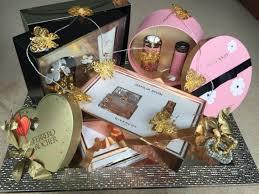 indian wedding gift baskets perfumes lights gold