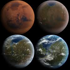 colonization of mars  artist s conception of the process of terraforming mars