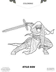Star Wars Coloring Pages The Force Awakens Printable Of Kylo Ren