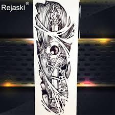 черный эскиз дракон временные татуировки стикеры для мужчин полные руки книги по